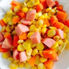胡萝卜火腿炒玉米