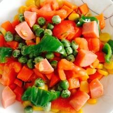 番茄火腿豌豆青椒胡萝卜炒玉米