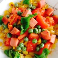 番茄青椒豌豆火腿炒玉米