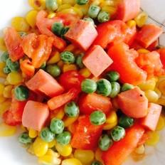 豌豆西红柿火腿炒玉米