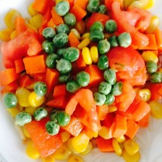 西红柿胡萝卜豌豆炒玉米