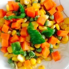 青椒豌豆胡萝卜炒玉米