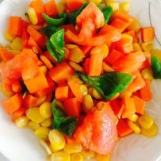 青椒西红柿胡萝卜炒玉米