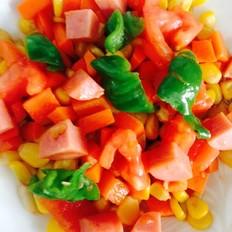 青椒西红柿胡萝卜火腿炒玉米