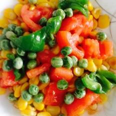 番茄青椒豌豆炒玉米