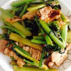 酸辣五花肉炒紫菜苔