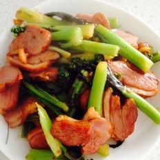 酸辣紫菜苔炒熏鹅肉