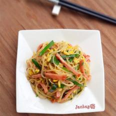 火腿韭菜炒豆芽