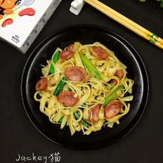 黑椒肠芽菜炒河粉的做法