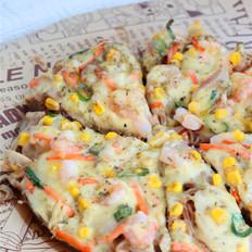 超多料的金枪鱼虾仁面条披萨,快手又好吃的做法