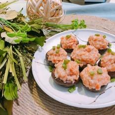 香菇蒸虾盏,把虾剁成泥,加个香菇,味道鲜美!的做法