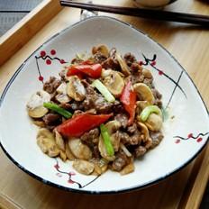 白蘑菇炒牛肉