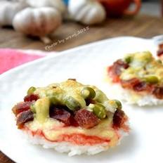 腊肉豌豆米饭小披萨