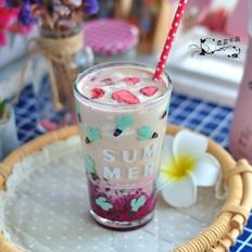 火龙果红豆奶茶
