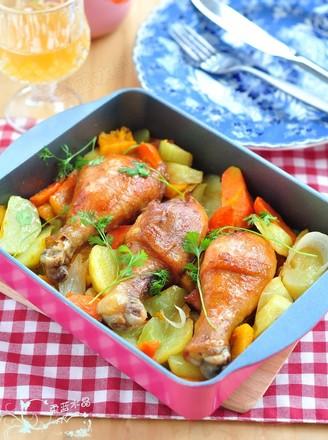 鸡腿烤时蔬的做法