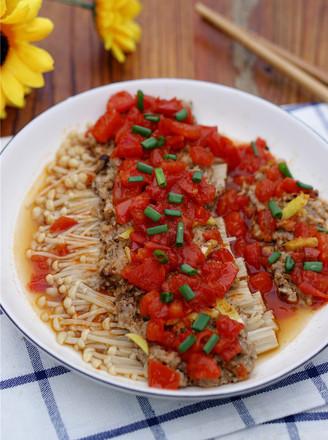 肉末茄汁金针菇的做法