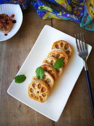 香煎鲜虾猪肉藕盒的做法