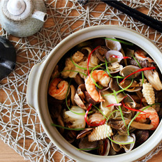酒蒸海鲜野菜