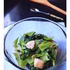 小油菜炒鸡肉