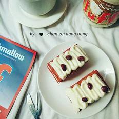 红丝绒蜜豆奶油蛋糕
