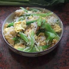 青菜鸡蛋炒米粉的做法