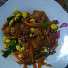 煎鸡腿肉闷玉米粒