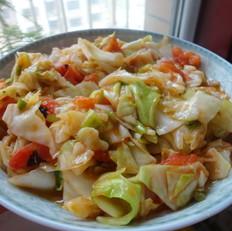 西红柿素炒洋白菜
