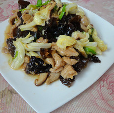 白菜炒双菌