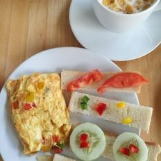 三分钟快手早餐——洋葱彩椒鸡蛋饼