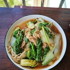 金针菇炒小白菜