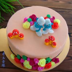 蓝精灵翻糖蛋糕
