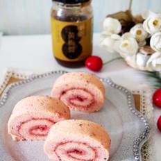 火龙果黄梅酱蛋糕卷