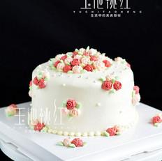 玫瑰小碎花奶油蛋糕
