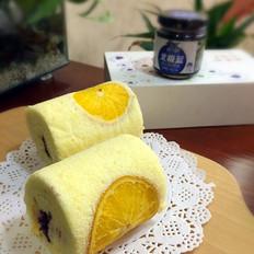 橙香蓝莓蛋糕卷