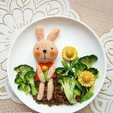 兔子小姐餐盘画