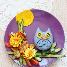 月光下的猫头鹰餐盘画