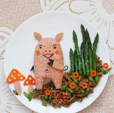 林中小猪餐盘画
