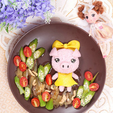 粉粉猪小妹餐盘画