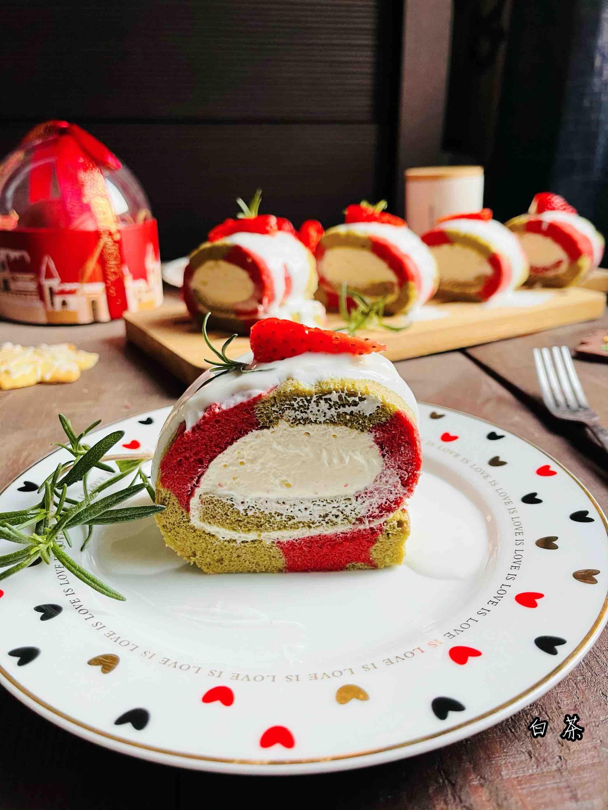 高颜值圣诞双色蛋糕卷的做法