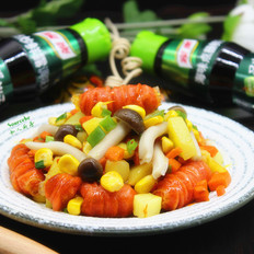 火腿炒菜蔬