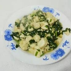 豆腐虾皮炒韭菜
