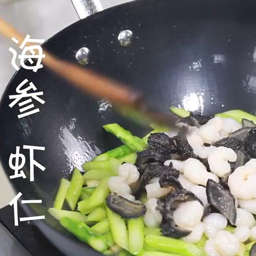 海参虾仁炒芦笋怎么吃
