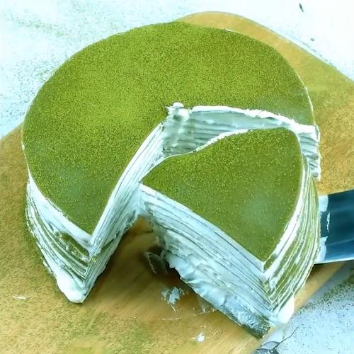 抹茶千層蛋糕成品圖
