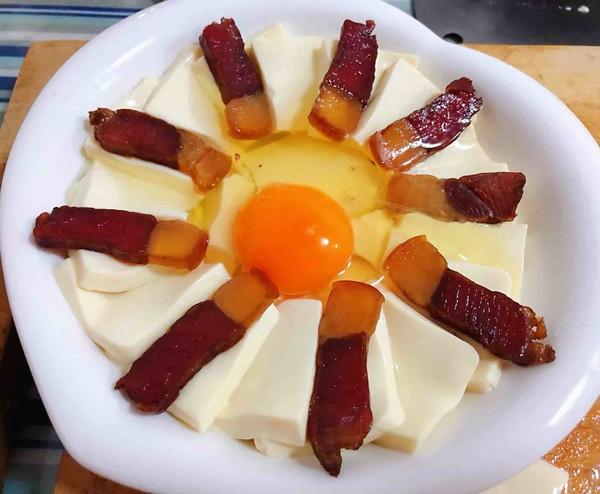 腊肉蒸豆腐卧蛋怎么做