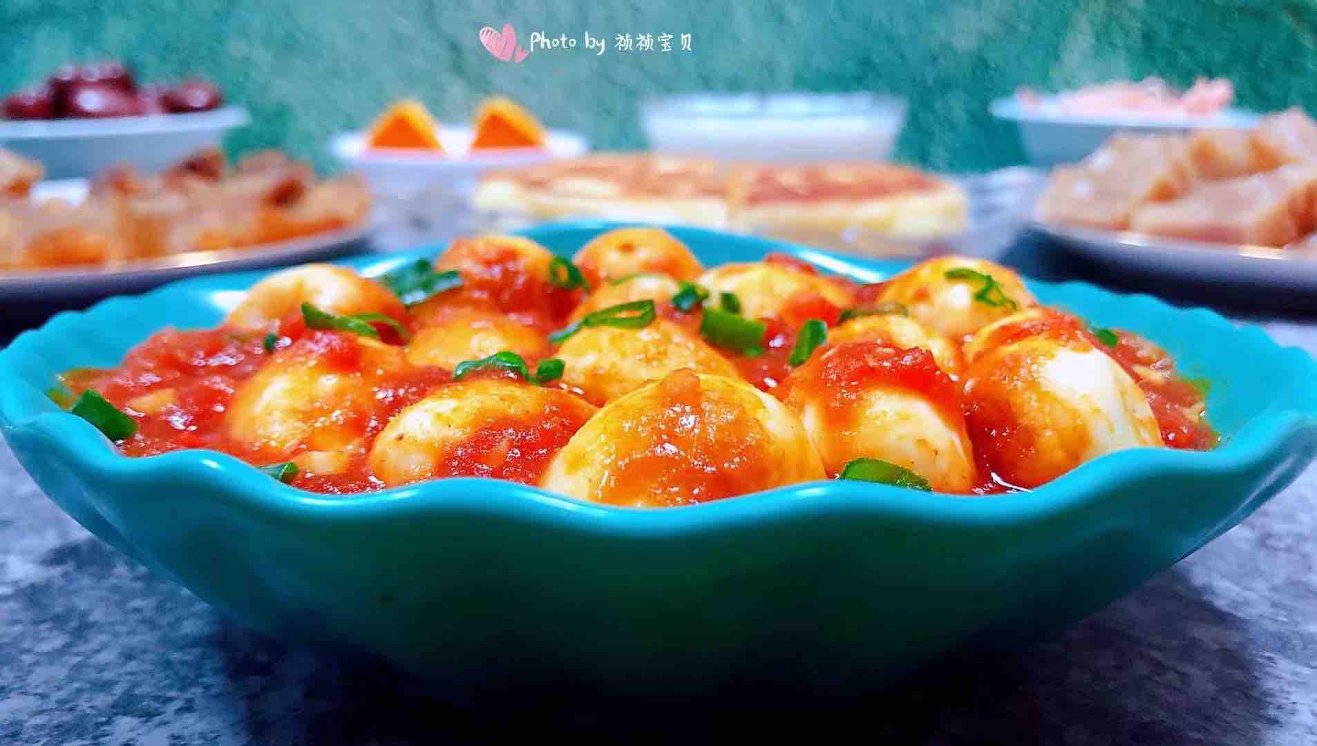 茄汁鹌鹑蛋成品图