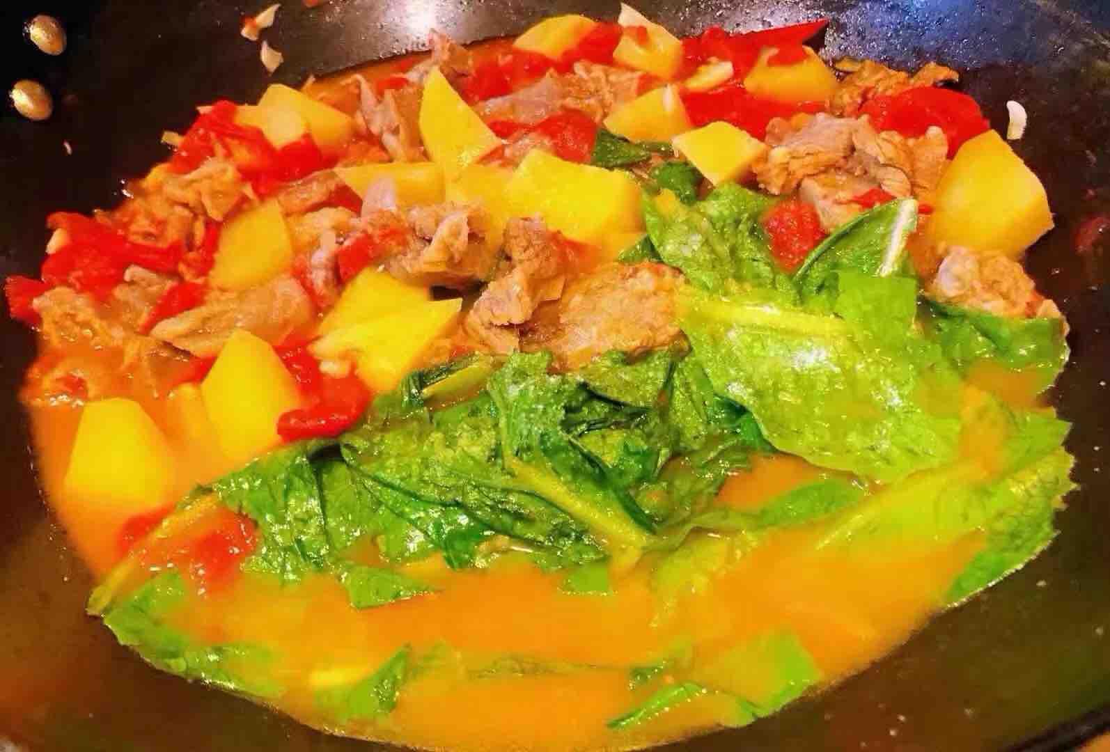 西红柿土豆青菜炖牛肉怎样煸