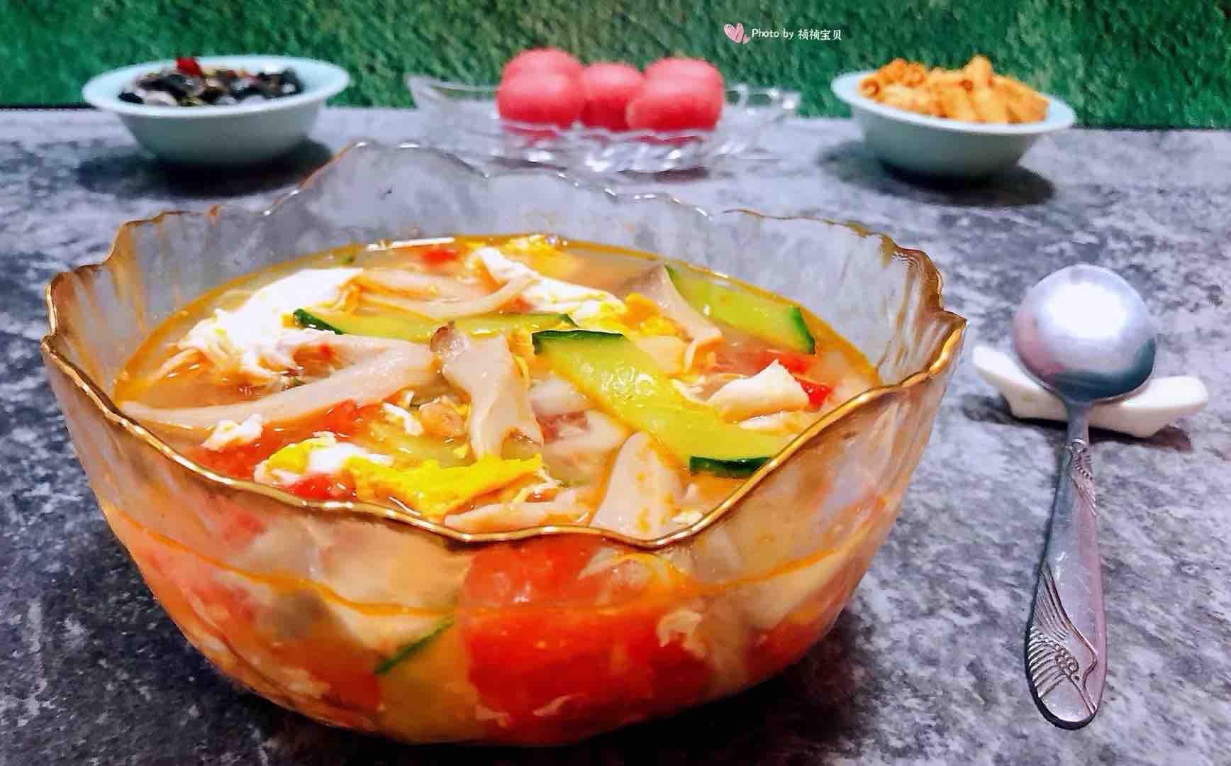 西红柿平菇黄瓜蛋花汤怎样煮