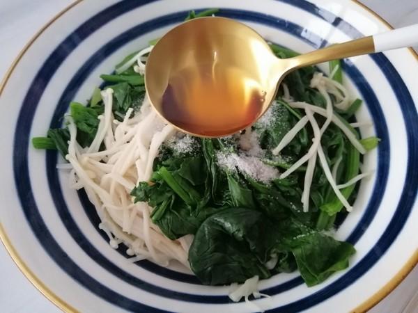 菠菜拌金针菇怎么做