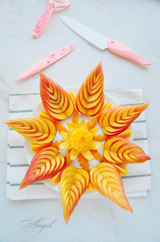 苹果橙子水果拼盘成品图