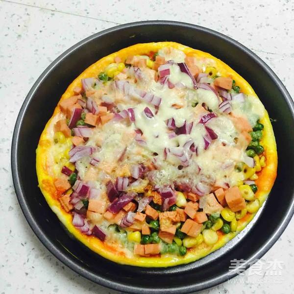 火腿玉米披萨怎么吃